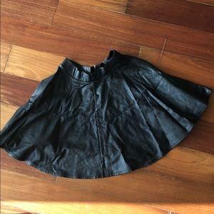 Top shop black leather skirt